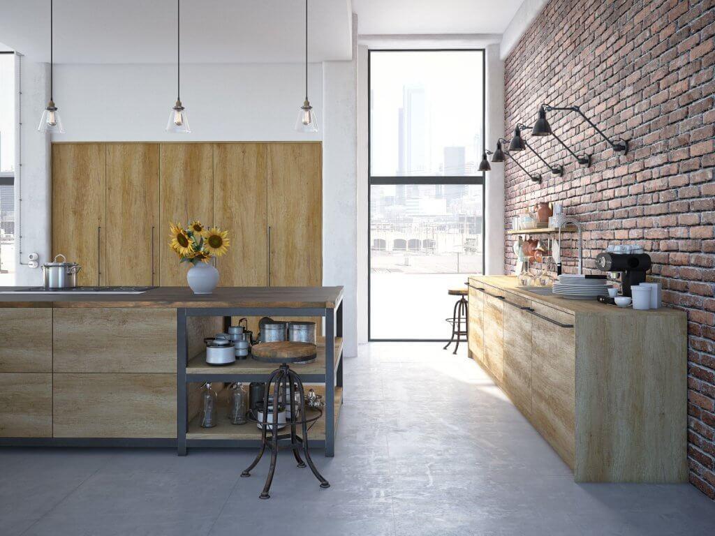 מטבח מודרני בעל מראה כפרי