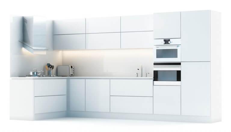 מטבח לבן מודרני עם מעט ניגודיות בצבע שחור